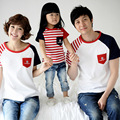 summer fashion family child clothing, mother and daughter father striped short-sleeve T-shirt S1686
