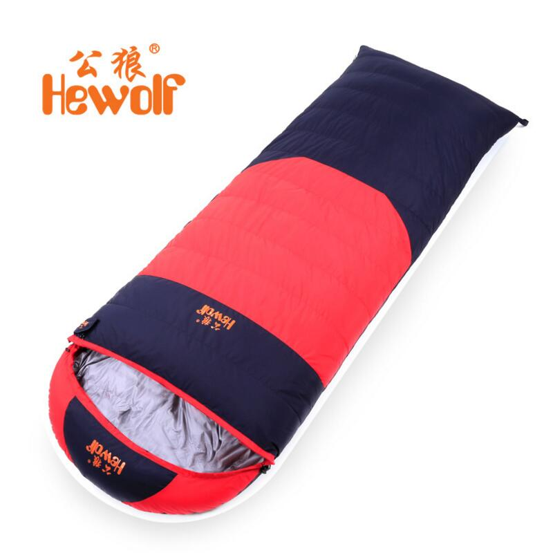 Hewolf Outdoor Camping Sleeping Bag Adult Envelope Ultraligh Fill 400G 800G 1000G 1200G 1500G Duck Down Sleeping Bag For Tourism