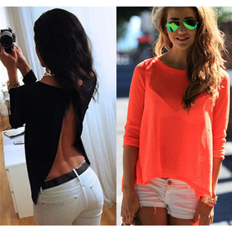 Autumn Sexy Backless Split Blouse Women Back Perspective Loose Casual Cropped Top Long Sleeve Chiffon Shirt