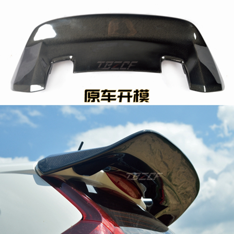 Car Accessories For Honda <font><b>Jazz</b></font> Fit <font><b>GK5</b></font> 14-17 Carbon Fiber JDM-Style Rear Spoiler Glossy Trunk Wing Racing Body Kit Trim image