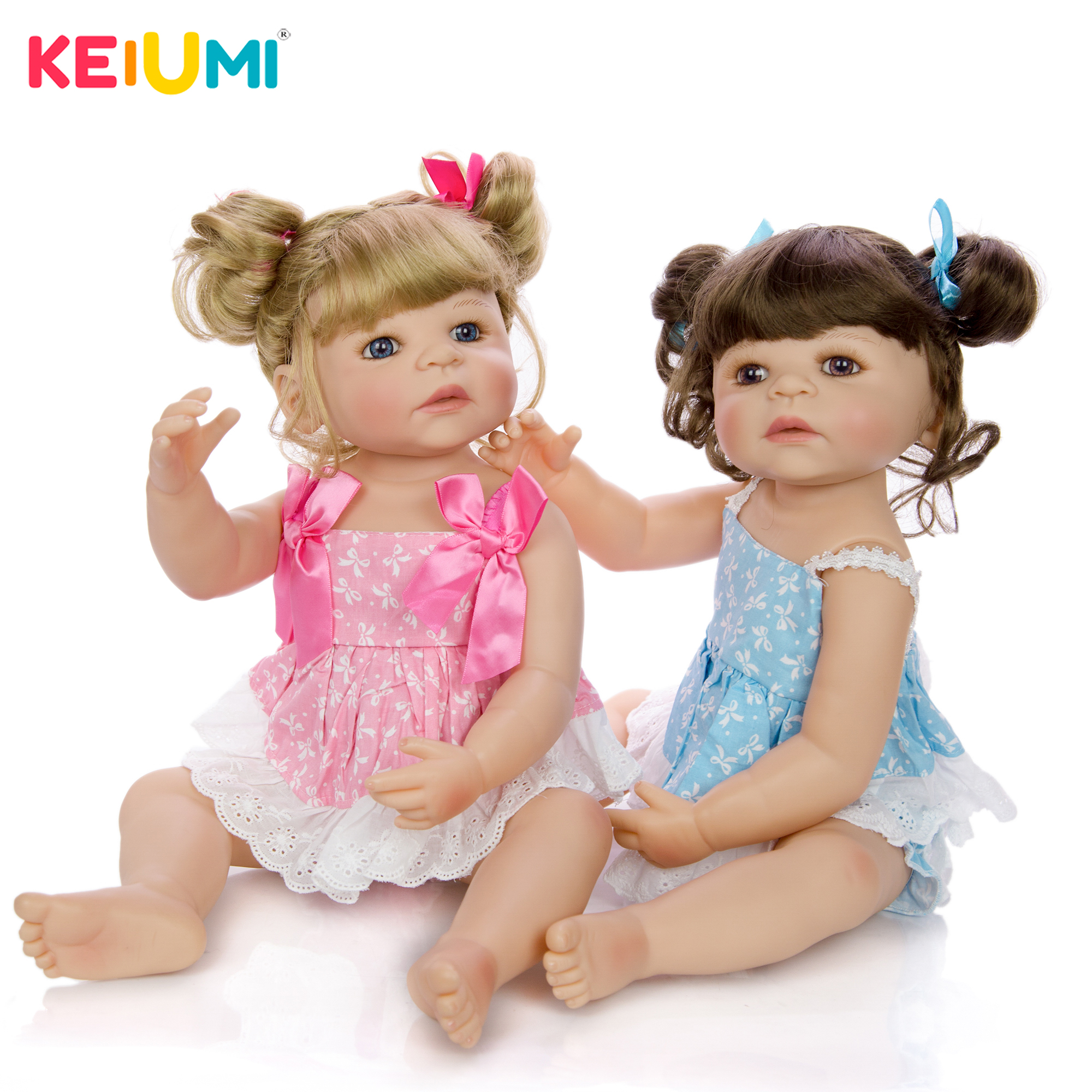 New Style Reborn Full Body Silicone Babies Vinyl Twins Girl Baby Toy 22 Fashion Dolls Baby