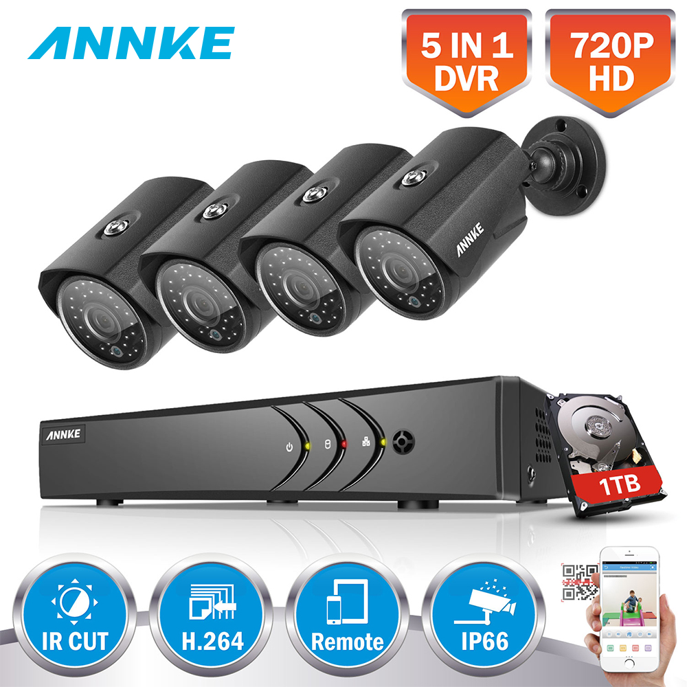 ANNKE 1080N 8CH 1080N Home Security HD DVR 4PCS 720P 1200TVL AHD CCTV Camera System 8 Channel Surveillance Kit 1TB HDD система видеонаблюдения sunchan hd 1mp 1200tvl cctv 4ch 720p ahd dvr 4 720p 1 hdd skt 4042dv1 1tb