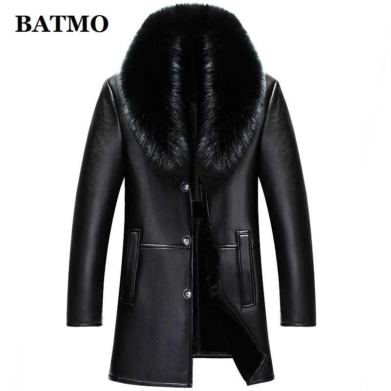 BATMO 2019 new arrival winter high quality real leather fox fur collars trench coat men ,men's winter Wool Liner parkas AL18