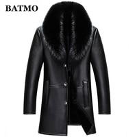 BATMO 2020 new arrival winter high quality real leather fox fur collars trench coat men ,men's winter Wool Liner parkas AL18