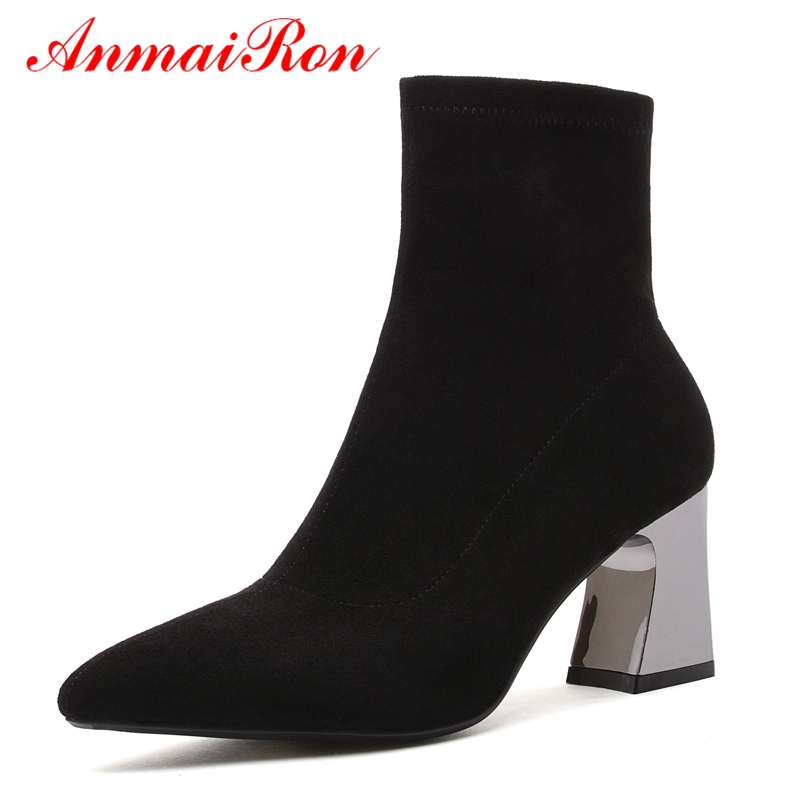 Femmes Pointu Chaussures Base Bout Bottes 34 Cheville De 39 Black brown Femme Anmairon Nouveauté Mujer Taille Ly190 Zapatos H9IED2W