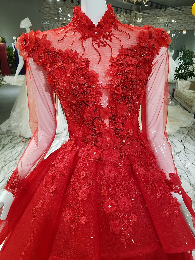 2018 New Arrival Aolanes High Neck Ball Gown Floor length Tulle Empire Illusion Evening Dresses Red Blue Gray Pink Prom Dresses in Evening Dresses from Weddings Events