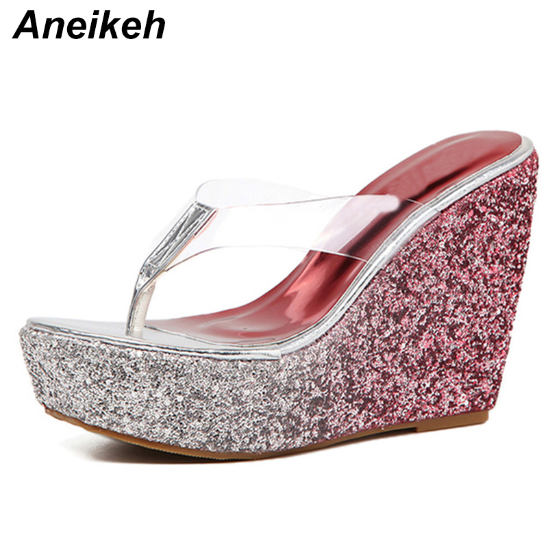 Aneikeh 2019 New Sequins Thick Bottom Platform <font><b>Slippers</b></font> Sandals Summer <font><b>Women</b></font> Beach <font><b>Wedges</b></font> <font><b>Shoes</b></font> <font><b>Sexy</b></font> <font><b>High</b></font> <font><b>Heel</b></font> Flip Fops <font><b>Slipper</b></font> image