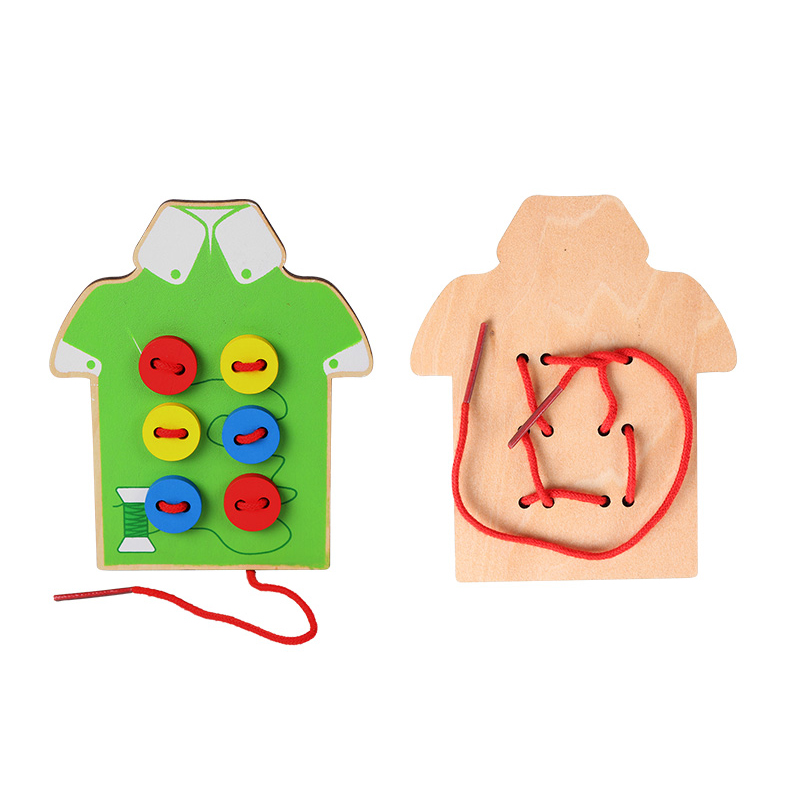 Montessori Toys Educational Wooden Toys for Children Early Learning Beads Lacing Board Toddler Sew On Buttons