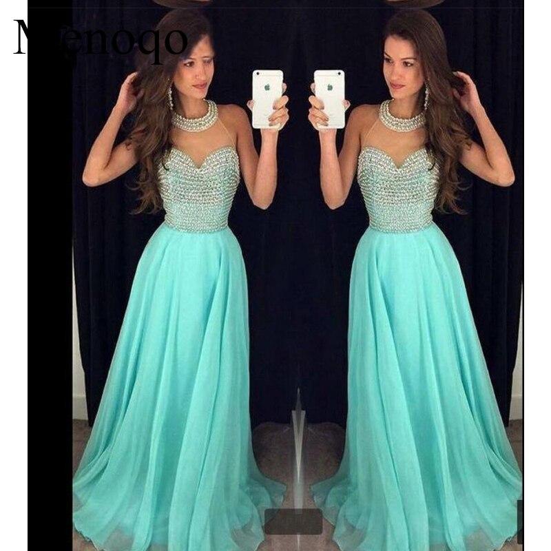 Real Sample A Line High Collar Sheer Neck Chiffon Floor Length Abendkleider 2019 Long Beaded Evening Dresses