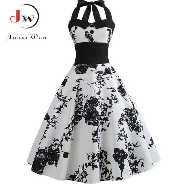 1b12cc45d87 Summer Dress Women Slim Halter Vintage Dress Print Floral Elegant Tunic  Party Dresses Sundress Plus Size Rockabilly Dress