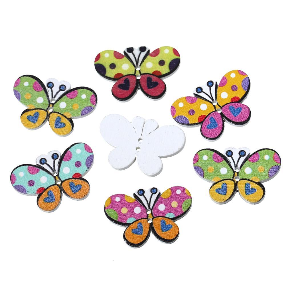 Деревянная швейная Кнопка Скрапбукинг бабочка наугад 2 отверстия 30 мм шт. (1 1/8 «) x мм 20 мм (6/8»), 7 шт. Новый