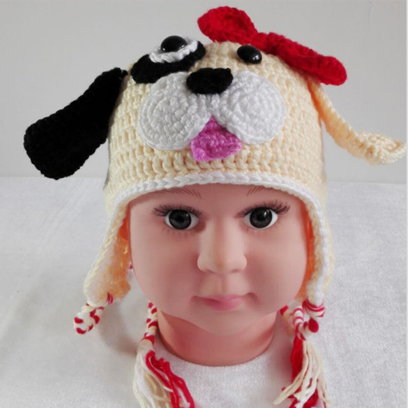 New Children Baby Beanies Ear Hold Girls Cute Doggy Hat Kids Cotton Knitted Crochet Hats & Caps Winter Autumn Animals Puppy Hats