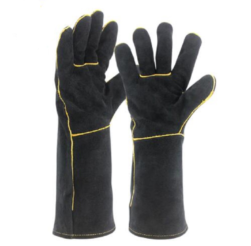 Black Welders Gloves Cow Split Leather Factory Gardening Welding Wood Stove Work Gloves Heat Resistant
