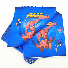 20pc/set Spiderman Party Supplies Napkin Baby Shower Disposable Tableware Decoration Superhero Tissue Kids Birthday Party Favors spiderman birthday party supplies tableware plate cup napkin balloons baby shower party spiderman party decoration for kids