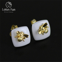 New Arrival Genuine 925 Sterling Silver Earrings Handmade Women Jewelry Nano Ceramics Special Cute Bee Design