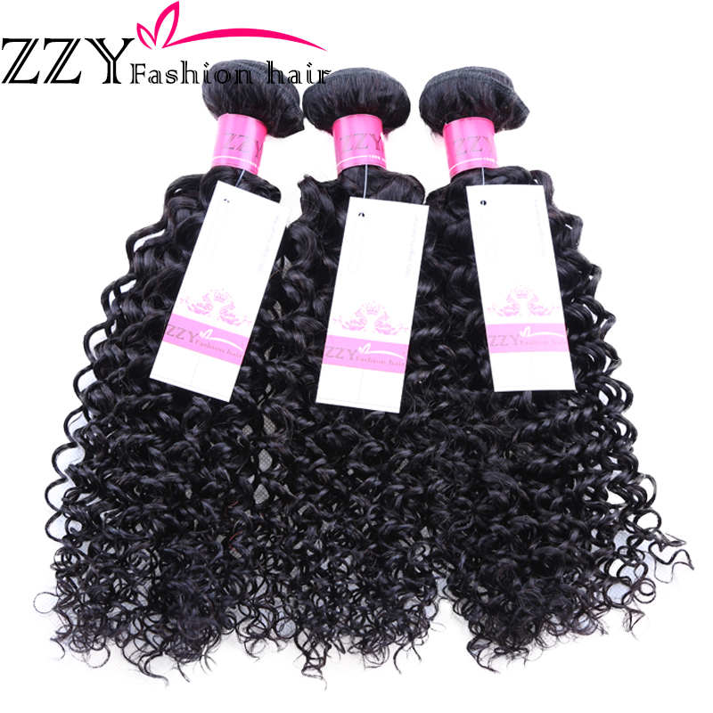 2.ZZY Peruvian Kinky Curly Hair 100% Human Hair Weave Bundles Non Remy Hair Extensions Free Shipping