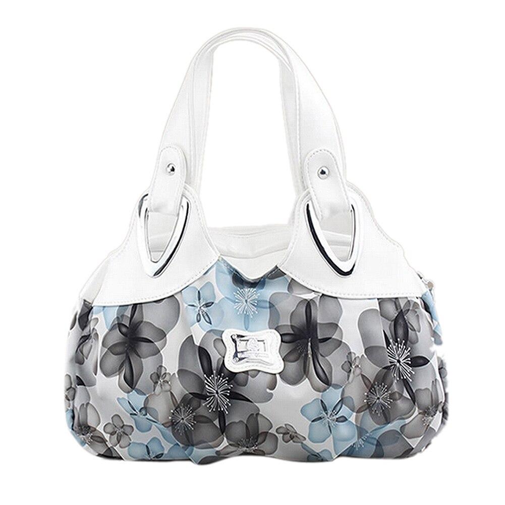 Image 4 - FGGS Fashion handbag Women PU leather Bag Tote Bag Printing Handbags Satchel  Dream safflower + white Handstrapbag embroideryhandbag pvchandbag inner bag -