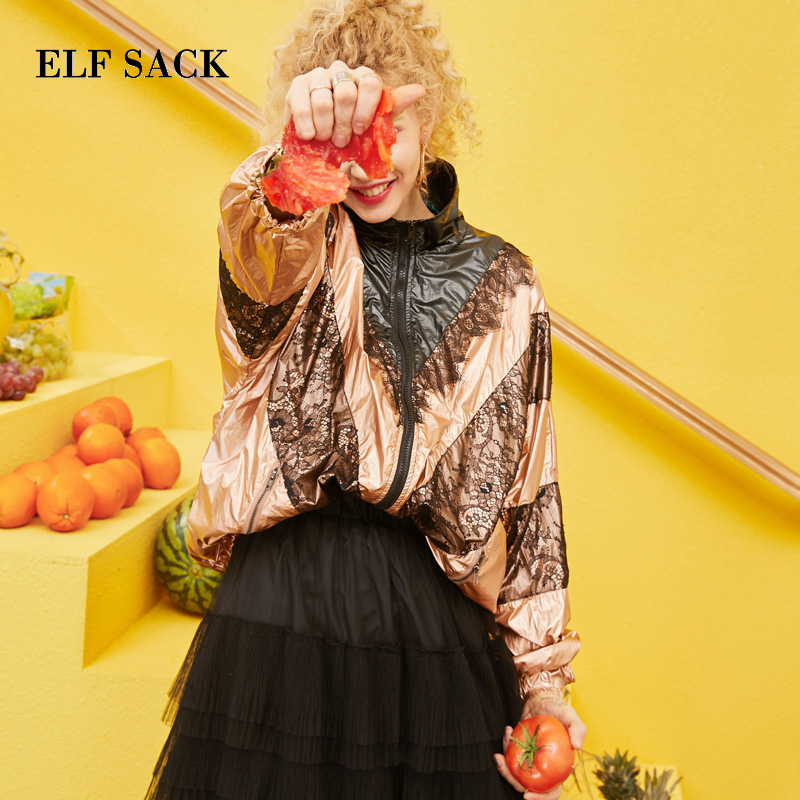 ELF SACK 2019 Spring New Woman Outerwear Jacktets Casual Zipper Print Ladies Coats Lace Patchwork Streetwear