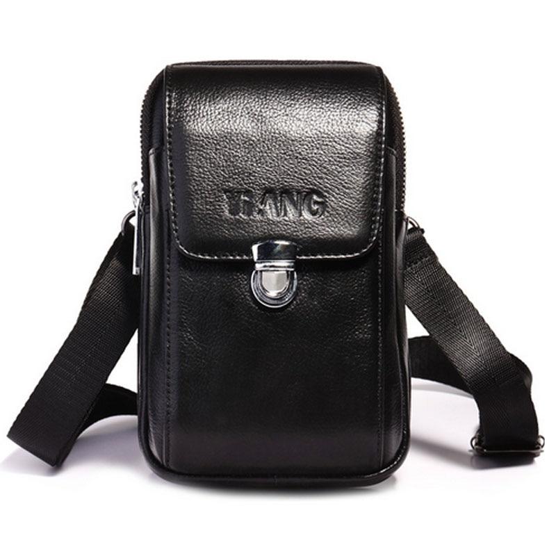 Men's fashion Waist Bag  Genuine Leather New Shouler Messenger Crossbody Hook Belt  Fanny Waist Bag Wallet  Bags