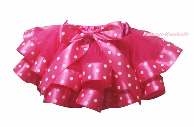 Valentine Hot Pink Dots Satén Recortada Tutu Danza Baby Girls Skirt NB-8Year