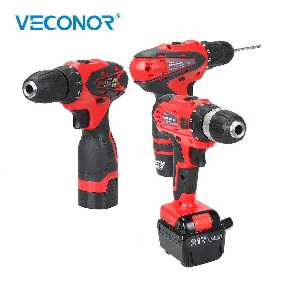 Veconor Electric Drill Cordless Screwdriver Impact Driver Power Driver Tool 2 Speed Li-ion Battery Rechargeable Driver Drill