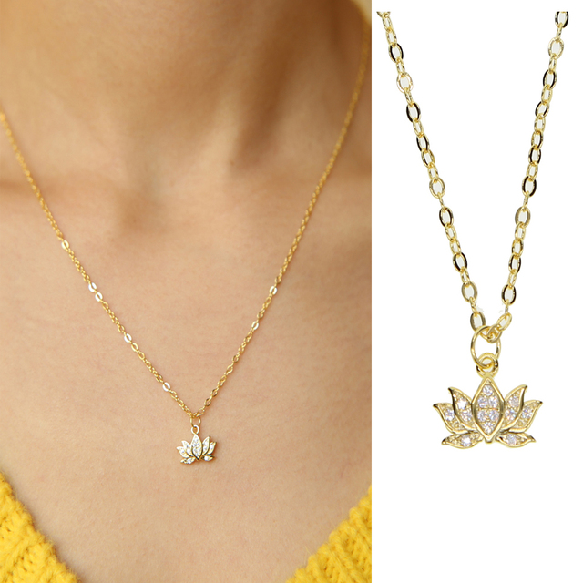 2018 spring drop shipping high quality gold chain with lotus pendant 2018 spring drop shipping high quality gold chain with lotus pendant necklace flower charm yoga jewelry mozeypictures Choice Image