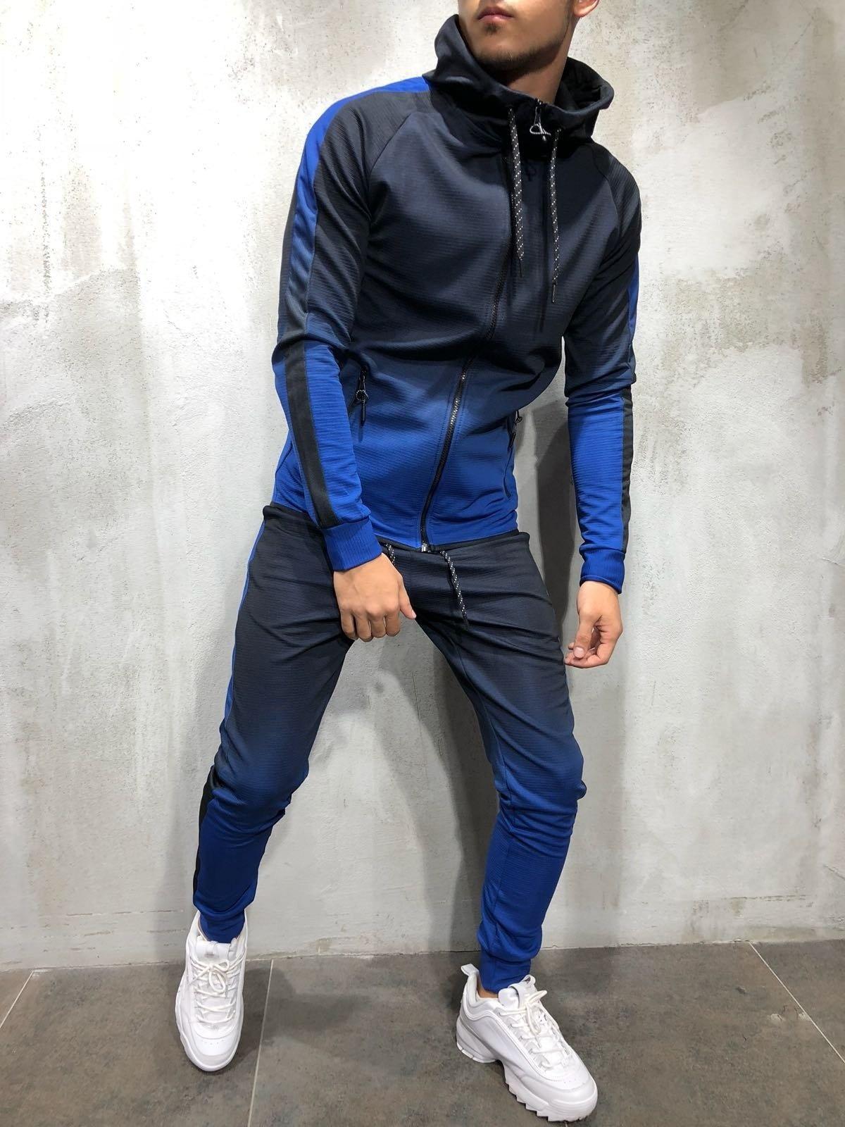 Zogaa 2018 Spring Set Men's Fashion Sportswear Tracksuits Sets Men's Bodybuilding Hoodies+Pants casual Outwear Suits S XXXL