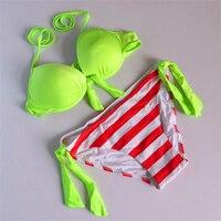 Vente chaude D'été Femmes Maillots De Bain de Marque Push Up Soutien-Gorge Bikini Vert néon Maillots de Bain Néon Couleur Bandage Bikini Ensemble Grand Taille S M L