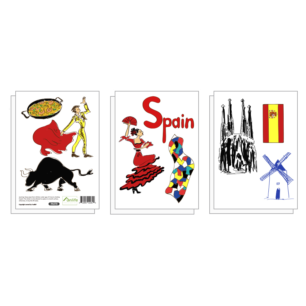 Funlife 6 sheets pack 18 pcs spanish bullfighting flag dance food decorative wall stickers for home decors peel stick pa078 in wall stickers from home