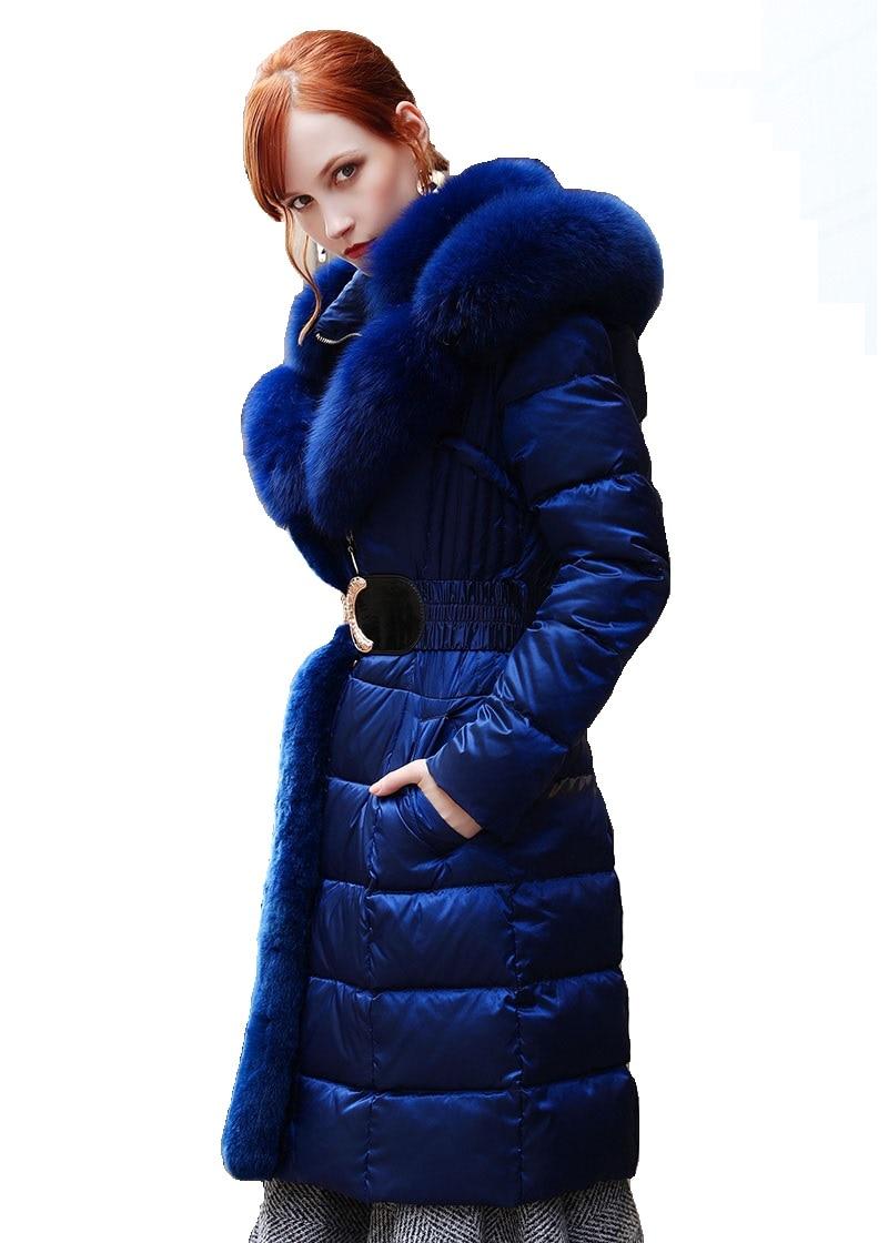 Luxe Épais Fourrure À Long Col Nouveau Mode Fox Automne Slim Chaud Capuchon Réel Veste De Down bleu Femmes Hiver Noir Style Ceinture Avec 2018 Italie q8OaWUd7Pa