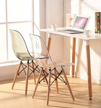 Transparent Acrylic Polycarbonate Modern Dining Side Clear Smoke Chair Plastic and Wood Classic Chair/ fashion Dining Chair-2PCS