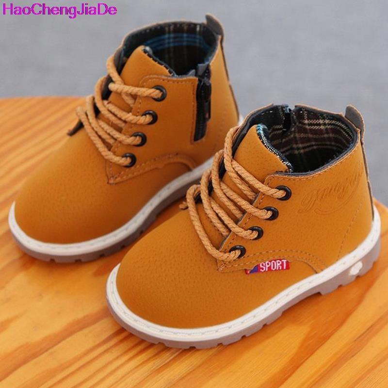 HaoChengJiaDe 2018 Bambini di Alta qualità Scarpe di Cuoio Del Bambino Ragazzi Scarpe Stivali Martin Impermeabile Traspirante Lace-Up Caviglia Ragazze scarpa