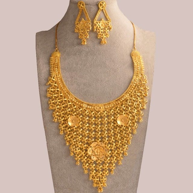 Anniyo Flower Ethiopian Bride Jewelry Set Gold Color & Copper Arab Dubai Necklace Earrings African Nigeria Party Gifts #112623