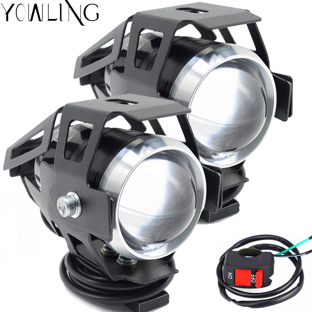 <font><b>Universal</b></font> Motorcycle UTV ATV <font><b>Dirt</b></font> Pit <font><b>Bike</b></font> 12V LED <font><b>Headlight</b></font> 125W 3000LM U5 Waterproof Driving Spot Head Lamp Fog Light Switch image