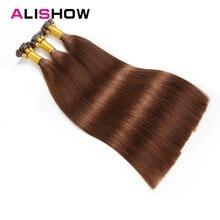 Alishow 22 дюймов 1 г/локон предварительно таможенного я отзыв волос натуральные волосы шелковистые прямые Волосы remy 100 г кератин палки расширение 100 шт
