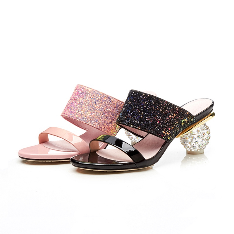 SIMLOVEYO big size 33 42 zomer nieuwe 2019 schoen vrouw klassieke prom muilezels schoenen elegante roze zwarte vrouwen slippers bling comfortabele-in Slippers van Schoenen op  Groep 3