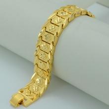 21.5CM,Men's Bracelet Vacuum Gold Color and Copper,Wide Bangle for Women,GP Hand Chain Jewelry Ethiopian/Arabia #002207