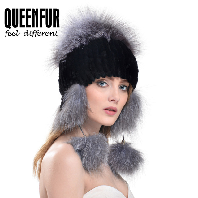 QUEENFUR Winter Natural Knitted Rex Rabbit Fur Cap Female Earmuffs Fur Hat With Fox Fur 2016 Ear Protector Flaps Bomber Hats