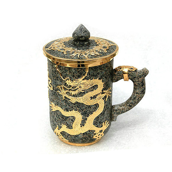 Inner Mongolia Natural Stone Golden Dragon Teacup Original Gold Inlay Personality Gift Household Mug 400ML