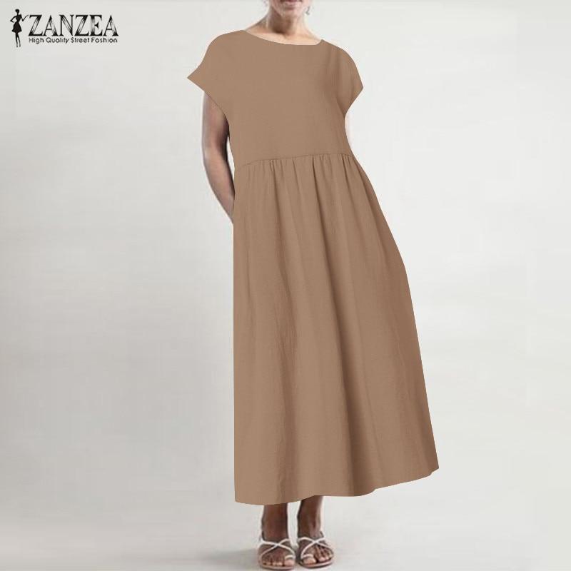 Женское льняное платье-Кафтан ZANZEA, повседневное тонкое винтажное плиссированное платье с коротким рукавом, 2019