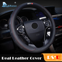 Airspeed 38CM Genuine Leather RSR Car Steering Wheel Cover Black Universal for VW Honda Ford Focus Mazda Kia Car-styling