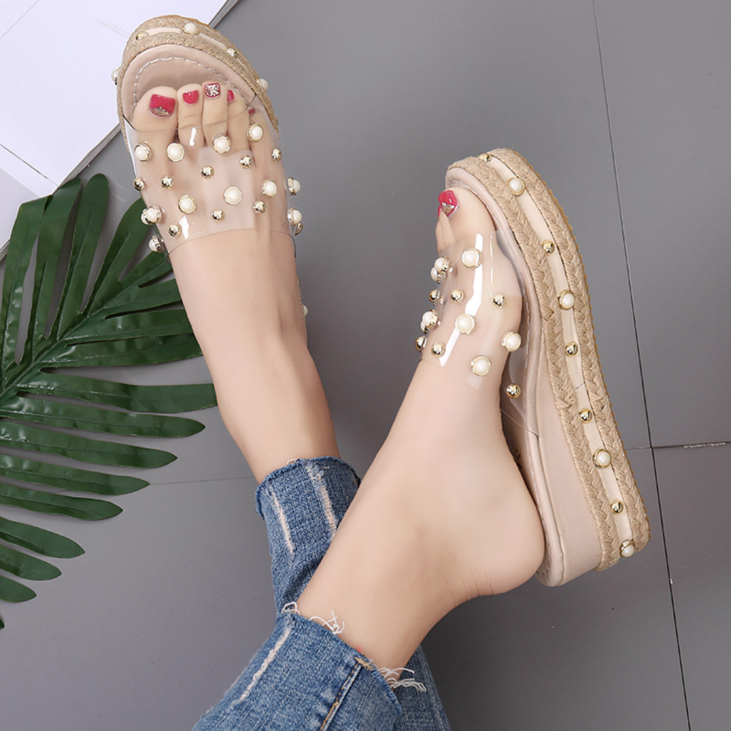 HTB1cLM.X1bviK0jSZFNq6yApXXai Fashion Jelly Sandals Summer Candy Slippers Woman Shoes Flats Ladies Womens Zapatos Mujer Slip On Pearl Beach Wedges Jelly Shoe