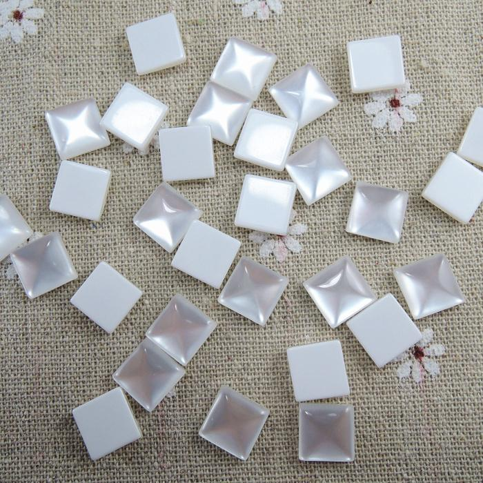 Beads Creative 12mm 50pcs White Square Half Flat Back Cabochons Beads Diy Jewelry Decoration Craft Scrapbooking Accessories Ha-12