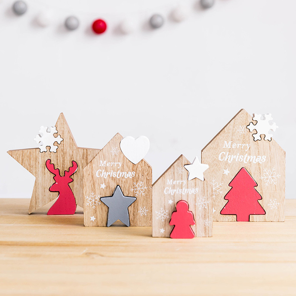 Merry Christmas Decorations For Home Christmas Wooden Desktop Decoration Home Party Ornaments Building Blocks Gifts Decoration