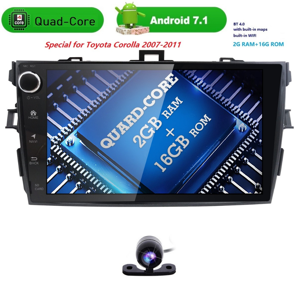 92 din car radio Android 7.1 Car Multimedia player For Toyota corolla 2007 2008 2009 2010 2011 head unit 2GB in dash gps video autoradio 2 din android 7 1 car dvd player for toyota camry 2007 2008 2009 2010 2011aurion 2006 head unit tape recorder wifi swc