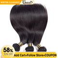 Uneed Brazilian Straight Hair Bundles 100% Human Hair Weave Bundles Natural Color Remy Hair Extensions Can Buy 3 or 4 Bundles