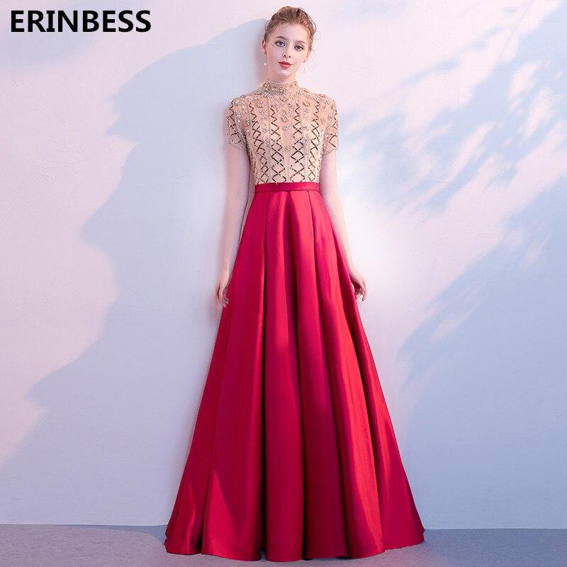 Luxury Sequin Beading Evening Dresses Long Dress 2019 Vestido De Festa Short Sleeve High Neck Evening Dress Elegant Party Gowns