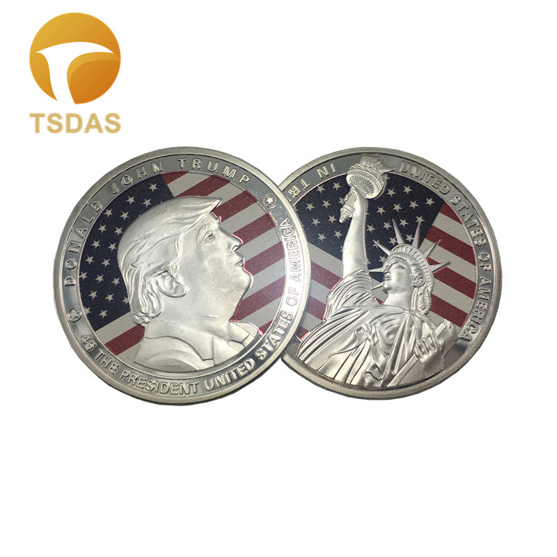 Us 252 30 Offfree Shipping America Great Again Colorful Donald Trump Silver Plated Liberty Eagle Coin 403mm Round Metal Coin Souvenir Gift In