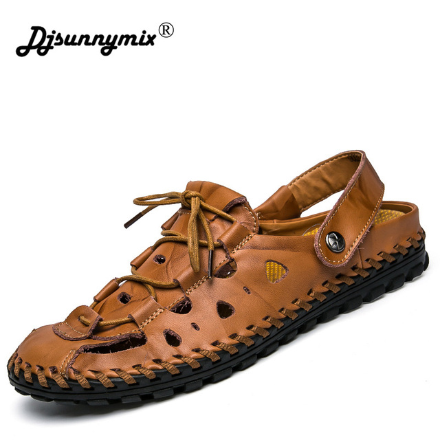 ee449f30908 DJSUNNYMIX Men sandals Slippers Summer Shoes Beach flip flops Men s 100%  Genuine Leather New Famous Brand Casual Shoes