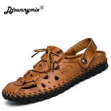 DJSUNNYMIX мужские сандалии шлёпанцы для женщин Летняя обувь пляжные сланцы для мужчин 100% пояса из натуральной кожи Новый Известный Брен